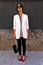 black hm jeans - white Zara blazer - white stripes Oysho shirt - black Mango bag