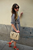 heather gray Miss Vintage dress - cream Zara bag - red Zara wedges