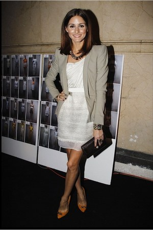 white dress - beige blazer