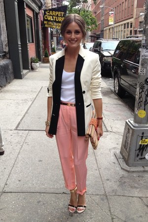 white blazer - salmon pants