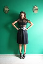 black H&M blouse - black redbow vtg skirt - black Ebay shoes - black Zara belt
