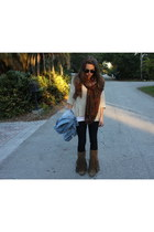 blush scarf - Forever 21 boots - J Brand jeans - American Apparel jacket