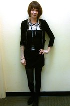 black tights - black cardigan - ivory top - black flats