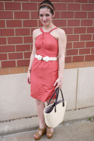 coral banana republic dress - beige Borghese bag - light brown Bakers wedges - w