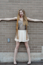 eggshell BCBG shorts - light brown Mink Pink vest - silver matty m top