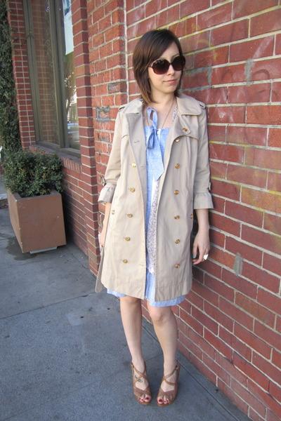 light blue Charlotte Ronson dress - camel Juicy Couture coat