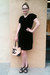 black Marc by Marc Jacobs dress - peach Chanel bag