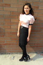 pink Dolce and Gabbana top - black skirt - black no 704b heels