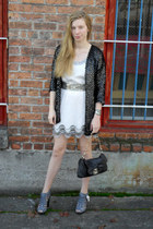 black vintage cardigan - silver Alice  Olivia dress - black Marc Jacobs bag