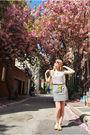 Gray-forever-21-skirt-white-forever-21-shirt-gold-nicole-shoes-beige-anthr