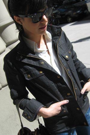 gray JCrew jacket - white Polo blouse - blue Miss Sixty jeans