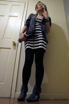 white H&M dress - gray Urban Outfitters blazer - gray go jane boots - black Fore