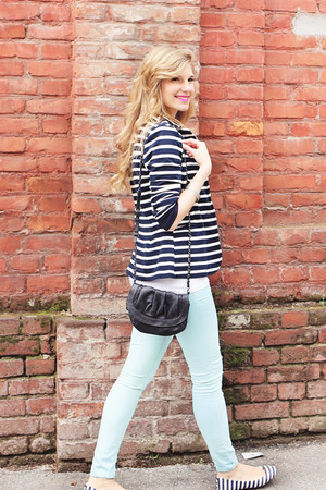 navy striped Pimkie blazer - black H&M bag - navy striped Bershka flats