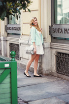 white Bershka dress - aquamarine H&M blazer - heather gray asos bag