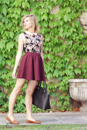 black floral print Pimkie blouse - black Sisley bag - camel suede H&M flats