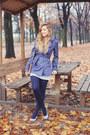 White-striped-dress-bershka-dress-blue-stradivarius-coat