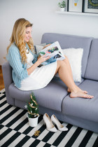 sky blue vintage cardigan - white skater Bershka dress - eggshell Zara heels