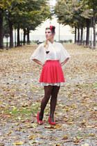 white dotted Bershka skirt - red Bershka skirt - white Motivi blouse