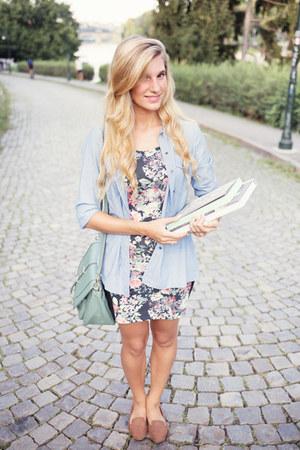 black flowered Pimkie dress - sky blue jeans Gap shirt