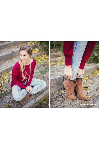 bronze fringed zaful bag - bronze Pimkie boots - light blue boyfriend Zara jeans
