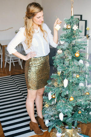 gold sequin H&M skirt - tawny suede ankle Bershka boots