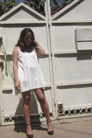 white second hand dress - light blue Target shorts - black Primadonna wedges