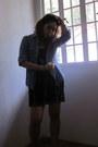 Black-bettina-dress-blue-secondhand-shirt