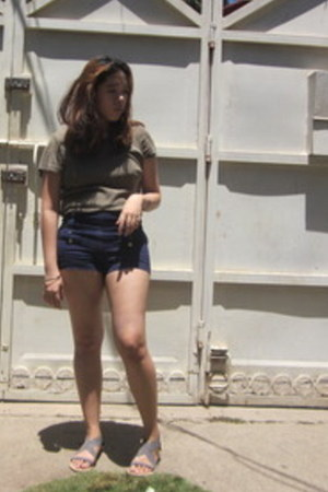navy Forever21 shorts - army green secondhand faded glory t-shirt