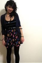 Old Navy cardigan - Urban Outfitters dress - black Forever 21 accessories - blac