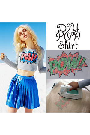 rhinestones DIY Pow Shirt blouse
