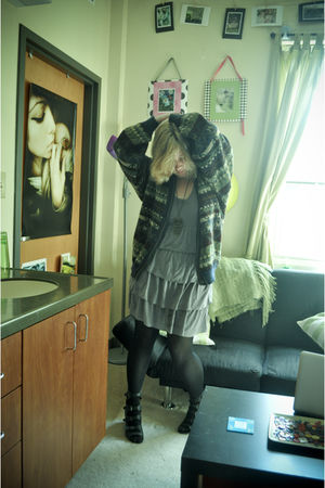 black CVS tights - black Forever 21 shoes - gray Charlotte Russe dress - blue vi