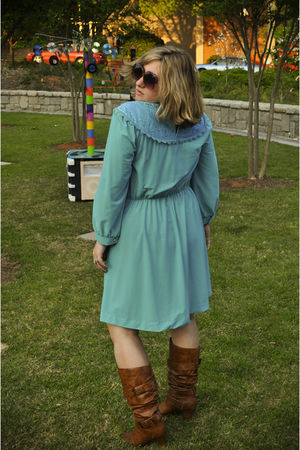 blue vintage dress - brown Madden Girl boots - pink vintage sunglasses