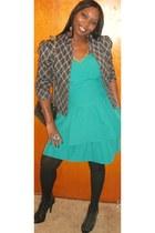 turquoise blue dress - black bag - black heels - black stockings