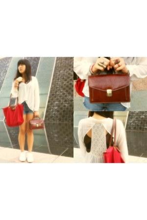 Topshop blouse - Topshop shorts - vintage bag - longchamp bag - American Apparel