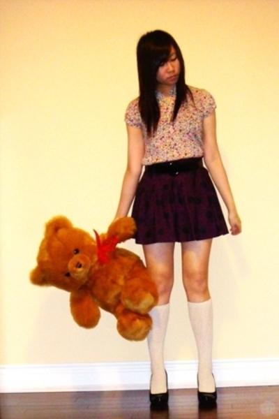 H&M blouse - H&M skirt - belt - Forever21 socks - BCBGgirls shoes