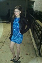 black jacket - blue BCBG dress - navy heels