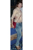 brick red coach bag - blue Bianco Jeans jeans - gold Ark & Co blouse