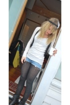 abercrombie and fitch sweater - shorts - vest - - tights - shoes