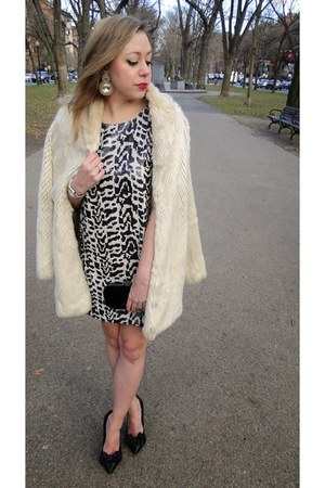 black sequin Joa dress - off white faux fur Velvet by Graham & Spencer coat