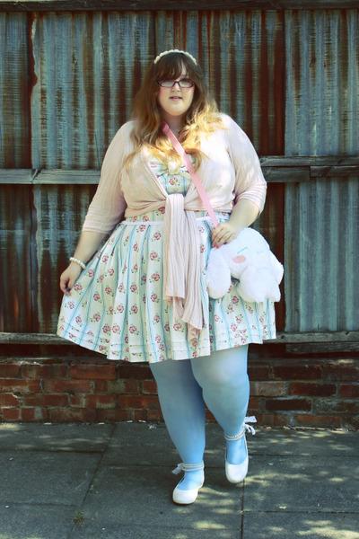 handmade dress - We Love Colors tights - Ebay bag - Evans cardigan - Miss Sixty