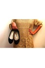 Gold-thrifted-dress-black-celine-shoes-brown-arden-glasses