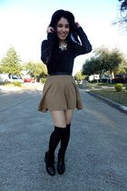camel cirlce skirt Forever 21 skirt - black bowler hat cotton on hat