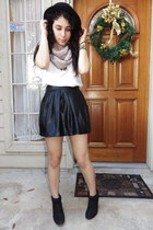 faux leather Forever 21 skirt - JCPenney boots - bowler hat cotton on hat