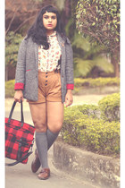 dark gray boucle blazer choiescom blazer - ruby red tartan shopper pull&bear bag