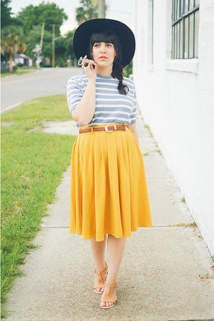 modcloth skirt - floppy hat Forever 21 hat - thrifted top