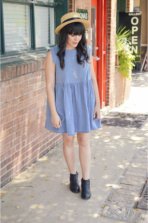 straw hat Forever 21 hat - black booties Aldo boots - oversized dress asos dress