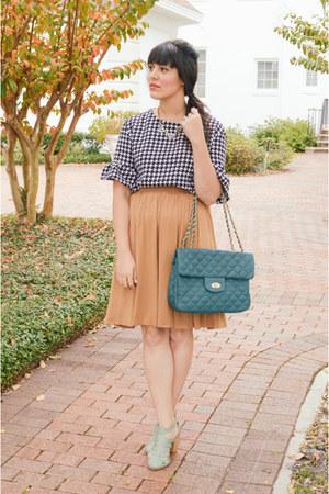 midi skirt asos skirt - houndstooth top Sheinside top - Seychelles heels