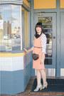 Peach-dress-vintage-dress-asos-bag-asos-top-seafoam-heels-seychelles-heels