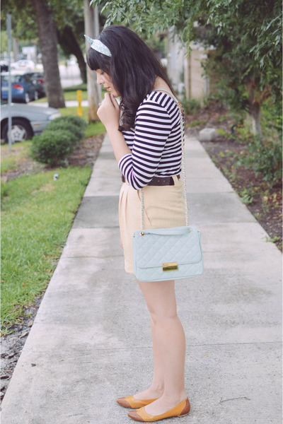 striped top H&M top - Forever 21 purse - thrifted vintage shorts
