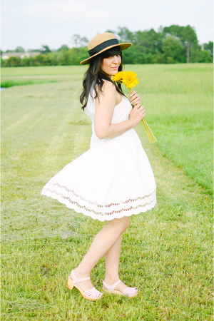 straw hat Forever 21 hat - white dress PepaLoves dress